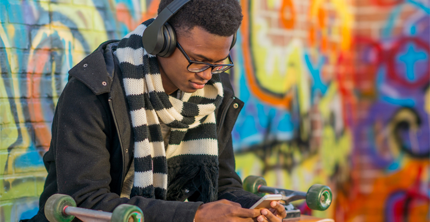Young man headphones on