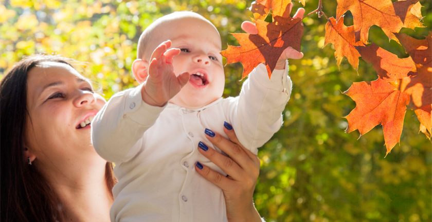 Woman holding up baby to touch leaf on a tree