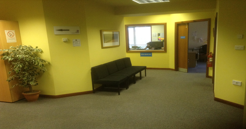 Inside Kirkwall reception area