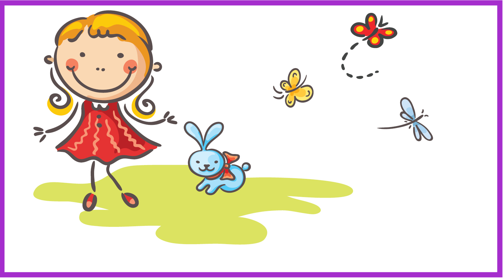 Cartoon girl and cartoon rabbit