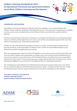 An Operational Framework and agreements between Social Work, Children's Hearings and the Reporter