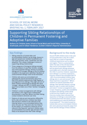 Supporting Sibling Relationships of Children in Permanent Fostering and Adoptive Families