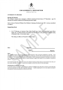 statement of grounds offence - SAMPLE